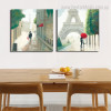Lovers in City Abstract Framed Modern Painting Photo Canvas Print for Dining Room Wall Outfit