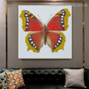 Eastern Comma Animal Framed Contemporary Smudge Picture Canvas Print for Room Wall Equipment