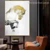 Golden Horse Animal Abstract Cityscape Nordic Painting Photo Canvas Print for Lounge Room Wall Outfit