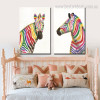 Shot Zebras Abstract Animal Framed Modern Painting Picture Canvas Print for Kids Room Wall Tracery