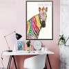 Calico Zebra Abstract Animal Watercolor Framed Modern Effigy Image Canvas Print for Room Wall Outfit