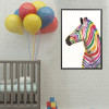 Dapple Zebra Abstract Animal Framed Painting Portrait Canvas Print for Kids Room Wall Drape