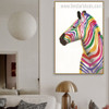 Dapple Zebra Abstract Animal Framed Painting Portrait Canvas Print for Room Wall Decoration
