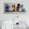 Cute Screeches Bird Modern Framed Smudge Picture Canvas Print for Dining Room Wall Getup