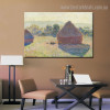 Haystacks (Midday) Impressionist Nature Painting Image Canvas Print for Lounge Room Wall Outfit