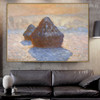 Haystacks Snow Effect Impressionist Reproduction Portrait Canvas Print for Room Wall Getup