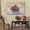 Haystacks Snow Effect Impressionist Reproduction Portrait Canvas Print for Living Room Wall Disposition