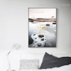 Lake Snow Nature Landscapes Framed Vignette Picture Canvas Print for Room Wall Trimming