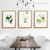 Holt Nordic Animal Nature Framed Painting Image Canvas Print for Dining Room Wall Disposition