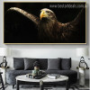 Golden Eagle Bird Modern Painting Picture Canvas Print for Lounge Room Wall Drape