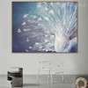 White Peafowl Bird Modern Framed Painting Image Canvas Print for Room Wall Ornamentation