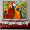 Two Macaws Contemporary Nature Bird Painting Photo Canvas Print for Living Room Wall Disposition