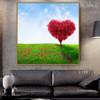 Heart Sapling Botanical Modern Framed Effigy Portrait Canvas Print for Living Room Wall Decor
