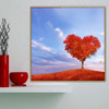Red Mead Botanical Framed Painting Image Canvas Print for Room Wall Garniture
