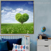 Lawn Floral Modern Framed Painting Image Canvas Print for Living Room Wall Decor