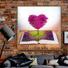 Heart Book Contemporary Floral Framed Effigy Image Canvas Print for Room Wall Disposition