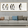 King Penguins Abstract Bird Landscape Portmanteau Picture Canvas Print for Living Room Wall Outfit