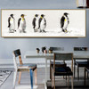 King Penguins Abstract Bird Landscape Portmanteau Picture Canvas Print for Dining Room Wall Disposition