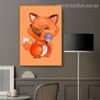 Baby Fox Animal Animated Framed Painting Picture Canvas Print for Room Wall Getup
