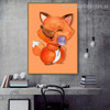 Baby Fox Animal Animated Framed Painting Picture Canvas Print for Room Wall Ornament