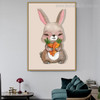 Little Bunny Cartoon Animal Framed Smudge Portrait Canvas Print for Room Wall Outfit
