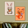 Beast Kids Animal Animated Contemporary Framed Painting Portrait Canvas Print for Room Wall Tracery