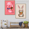 Cony Animated Modern Animal Framed Painting Picture Canvas Print for Lounge Room Wall Trimming