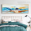 Colorful Mountains Abstract Modern Framed Portraiture Photo Canvas Print for Living Room Wall Flourish