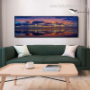 Shore Modern Panoramic Landscape Framed Painting Picture Canvas Print for Room Wall Adornment