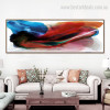 Bluish Abstract Modern Panoramic Framed Painting Picture Canvas Print for Room Wall Outfit