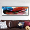 Bluish Abstract Modern Panoramic Framed Painting Picture Canvas Print for Room Wall Equipment