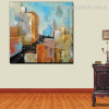 Silent Town Abstract Modern Cityscape Framed Portraiture Picture Canvas Print for Room Wall Decor