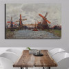 Windmills Near Zaandam Impressionist Reproduction Framed Painting Picture Canvas Print for Dining Room Wall Garniture