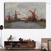 Windmills Near Zaandam Impressionist Reproduction Framed Painting Picture Canvas Print for Room Wall Molding