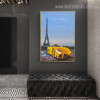 Romantic Eiffel Tower Abstract City Framed Portmanteau Picture Canvas Print for Room Wall Equipment