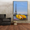 Romantic Eiffel Tower Abstract City Framed Portmanteau Picture Canvas Print for Room Wall Decoration