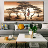 Primitive Tribe Nature Framed Painting Image Canvas Print for Room Wall Garnish