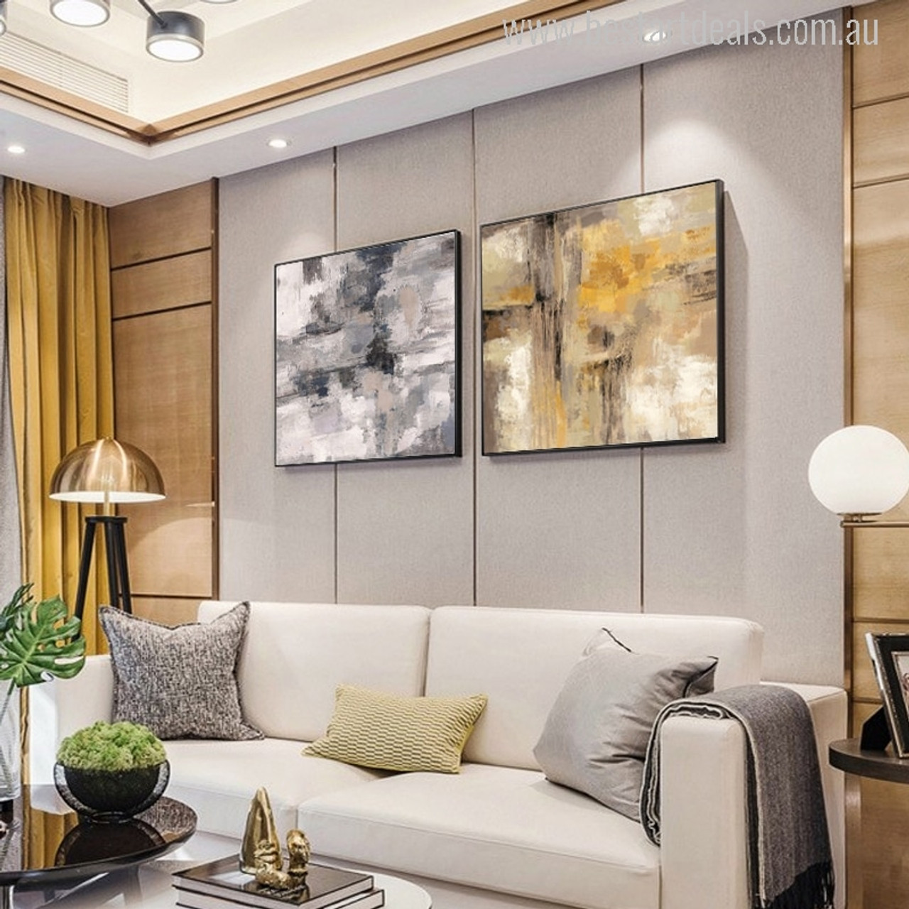 Living Room Art Decor.Yellow Gray Oil Painting