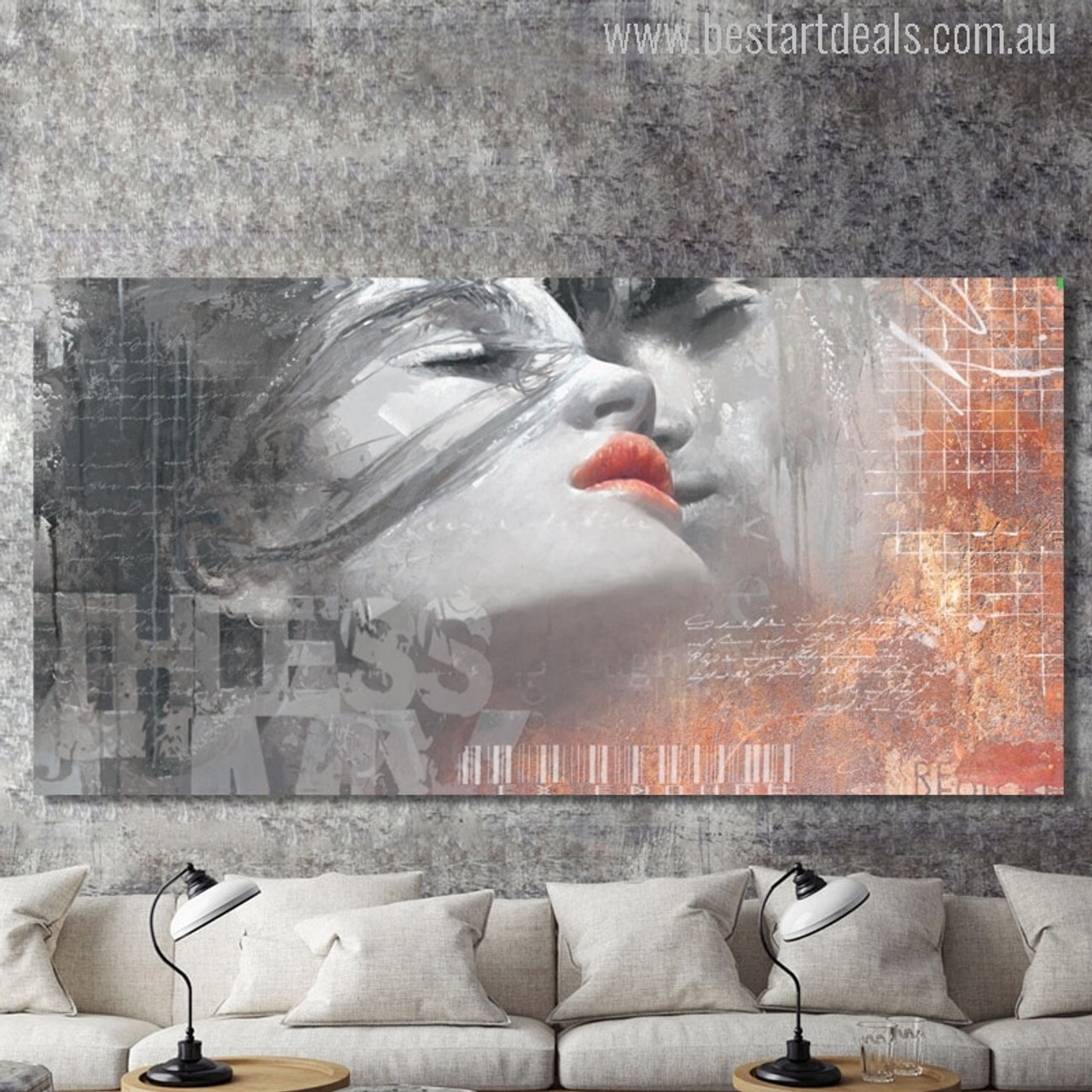 NEW LOVE KISS  REDDISH PICTURE PRINT ON FRAMED CANVAS  WALL ART HOME DECORATION