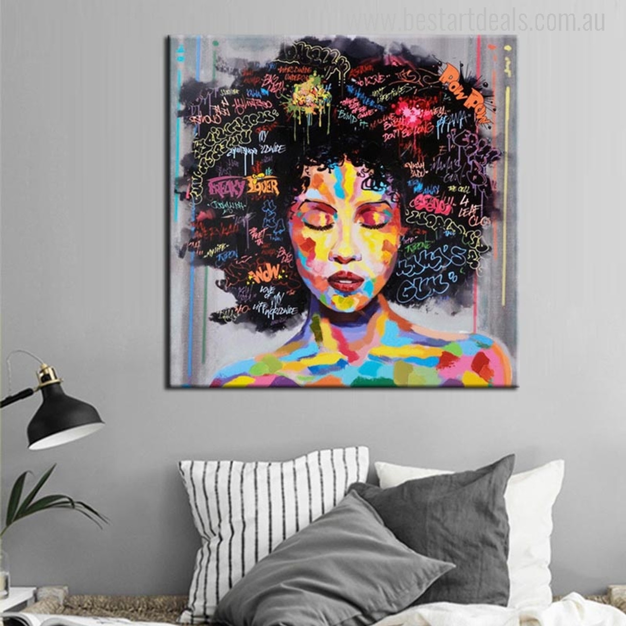 Home art Wall Decor Abstract Girl With blue Hair Oil Painting Printed On Canvas