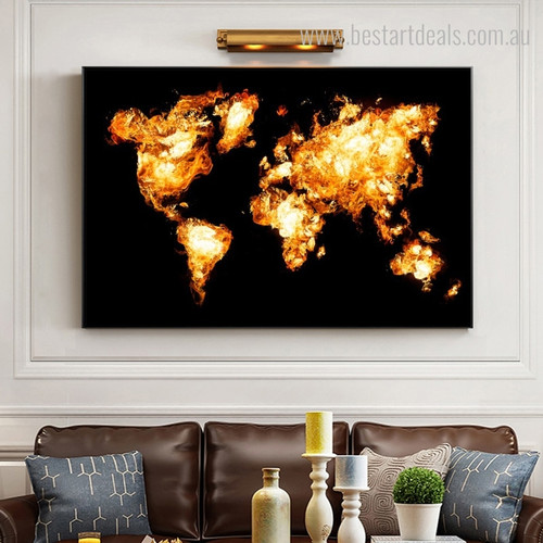 Marl World Map Abstract Modern Framed Portraiture Picture Canvas Print for Room Wall Molding