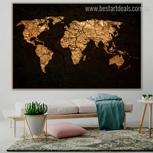 Cosmos Abstract World Map Effigy Photo Canvas Print for Room Wall Equipment
