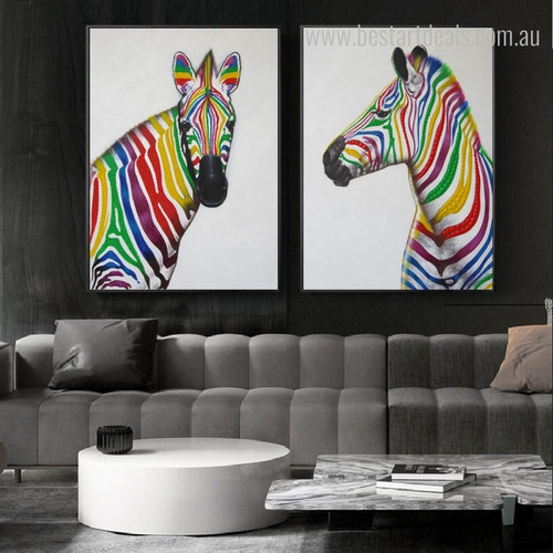 Stallions Maws Animal Framed Resemblance Photo Canvas Print for Lounge Room Wall Assortment