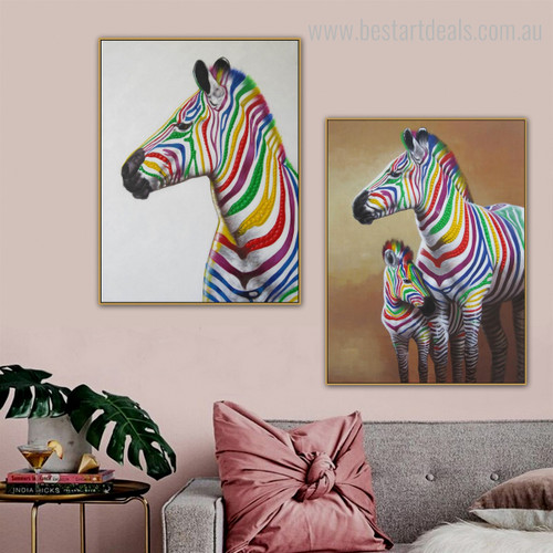 Motley Mare Animal Contemporary Framed Smudge Image Canvas Print for Room Wall Tracery
