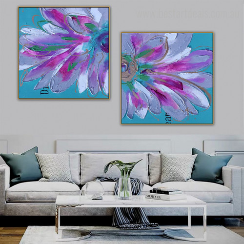 Pink Petals Botanical Framed Knife Painting Picture Canvas Print for Lounge Room Wall Disposition