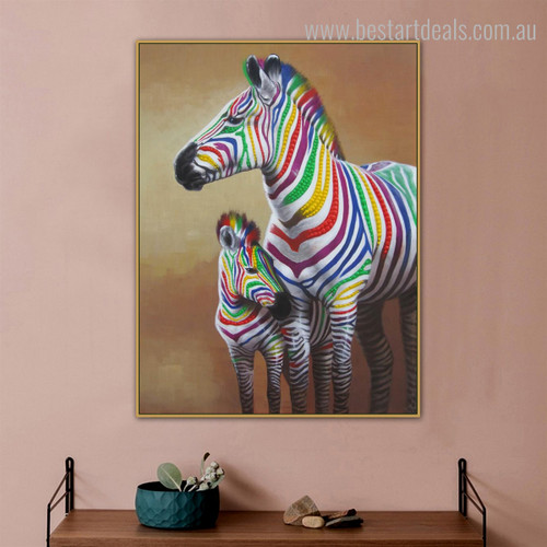 Zebra Colt Abstract Animal Modern Framed Painting Portrait Canvas Print for Room Wall Decor