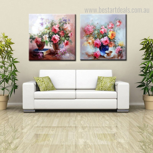Pots Abstract Modern Floral Knife Painting Framed Picture Canvas Print for Room Wall Decor