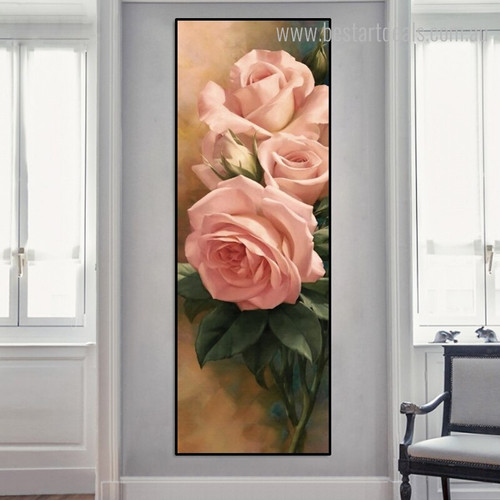 Rose Bud Floral Modern Panoramic Framed Portmanteau Portrait Canvas Print for Room Wall Getup