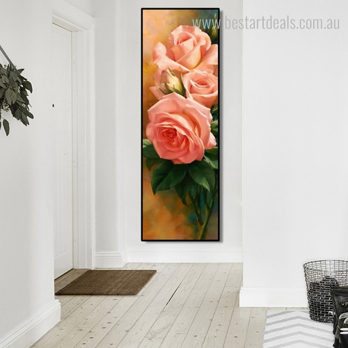 Burgeon Modern Botanical Panoramic Framed Portraiture Picture Canvas Print for Room Wall Outfit