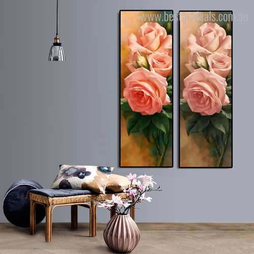 Rose Gussets Floral Panoramic Framed Painting Image Canvas Print for Room Wall Garnish